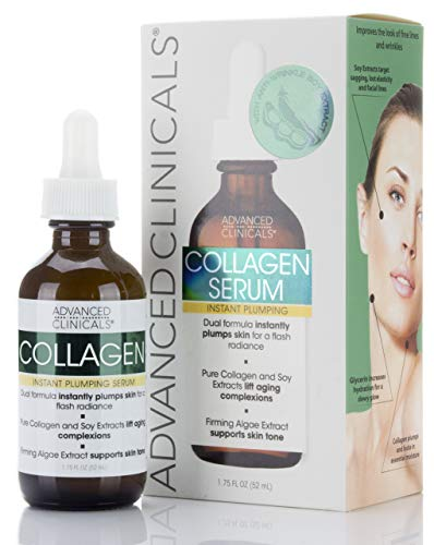 Advanced Clinicals - Advanced Clinicals Collagen Instant Plumping Serum for Fine Lines and Wrinkles. 1.75 Fl Oz.
