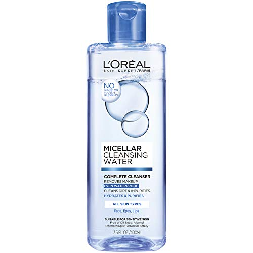 L'Oréal - Makeup Remover, L'Oreal Paris Micellar Cleansing Water Complete Cleanser to Remove Makeup, Gentle Cleanser, 13.5 Fl Oz