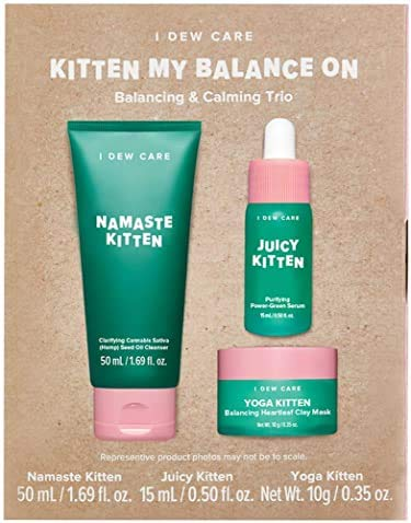 I Dew Care I DEW CARE Kitten My Balance On I Serum, Foam Cleanser, Wash-off Mask Set | Korean Skincare Facial Treatment Gift | Vegan, Cruelty-free, Gluten-free, Paraben-free