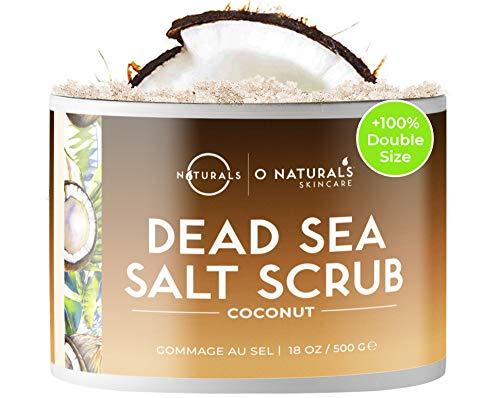 O Naturals - O Naturals Exfoliating Coconut Dead Sea Salt Body Scrub. Deeply Moisturizing & Skin Smoothing. Brightens Skin, Treats Acne, Cellulite & Stretch Marks. Anti-Aging. Sweet Almond & Argan Oil 8.45 Oz