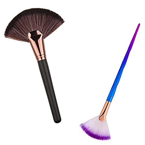 Huifen - HUIFEN Large Fan Patern Makeup Brush, Portable Slim Professional Apply Perfect For Highlight And Bronzer Cheekbones Brush, 2pcs Together Soft Cosmetic Make Up Tool Foundation Powder Contour Brush