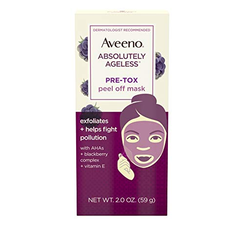 Aveeno - Aveeno Absolutely Ageless Pre-Tox Peel Off Antioxidant Face Mask with Alpha Hydroxy Acids, Vitamin E & Blackberry Complex, Non-Comedogenic, Paraben- & Phthalate-Free, 2.0 oz