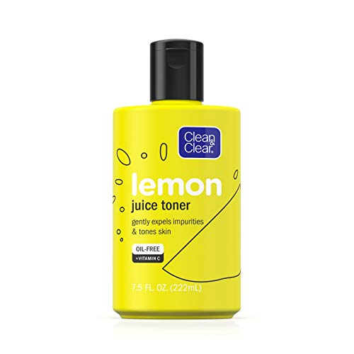 Clean & Clear - Clean & Clear Brightening Lemon Juice Facial Toner with Vitamin C and Lemon Extract to Gently Expel Impurities and Tone Skin, Alcohol-Free Oil-Free Cleansing Vitamin C Astringent Face Toner, 7.5 oz