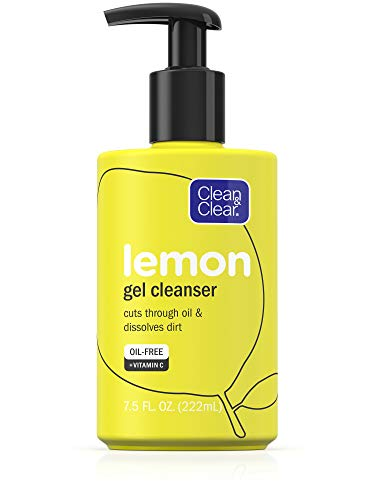 Clean & Clear - Clean & Clear Brightening Gel Facial Cleanser with Lemon Extract and Vitamin C to Cleanse Oil and Dissolve Dirt, Oil-Free Vitamin C Cleansing Gel Face Wash, 7.5 oz ( Pack of 2)
