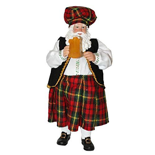 "Connie N Randy - 10.8"" Beer Drinking Santa with Kilt"
