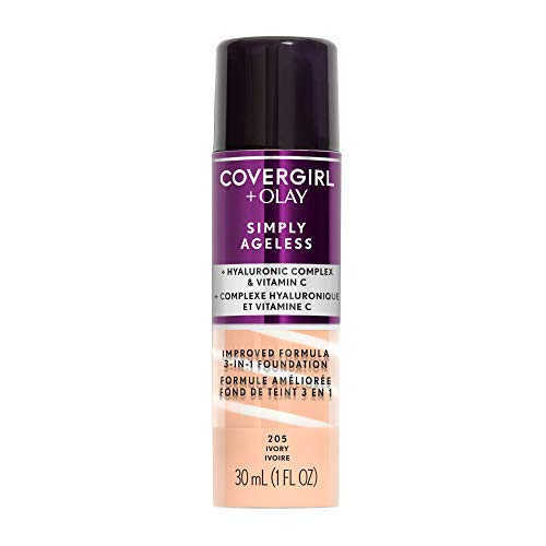 Covergirl - COVERGIRL Simply Ageless 3-in-1 Liquid Foundation, Ivory 205, 1 Count (Packaging May Vary)