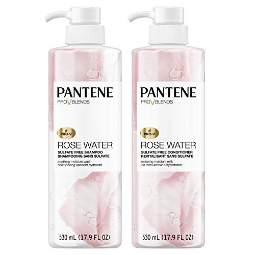 Pantene - Pantene, Shampoo and Conditioner Kit, Sulfate, Paraben and Dye Free, Pro-V Blends, Soothing Rose Water, 17.9 fl oz, Kit