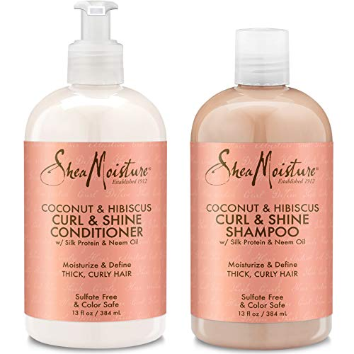 Sheamoisture - Shea Moisture Coconut & Hibiscus Curl & Shine, Shampoo and Conditioner Set, Silk Protein and Neem Oil, 13 Oz Each