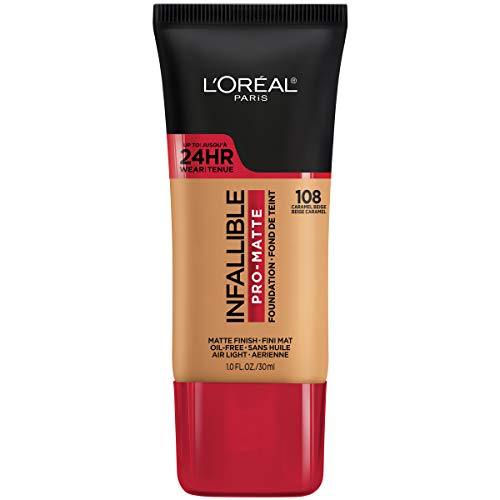 L'Oreal Paris - L'Oreal Paris Makeup Infallible Pro-Matte Foundation, air-light, oil-free formula resists sweat and humidity, hides imperfections, demi-matte finish for up to 24hr wear, 108 Caramel Beige, 1 fl. oz.