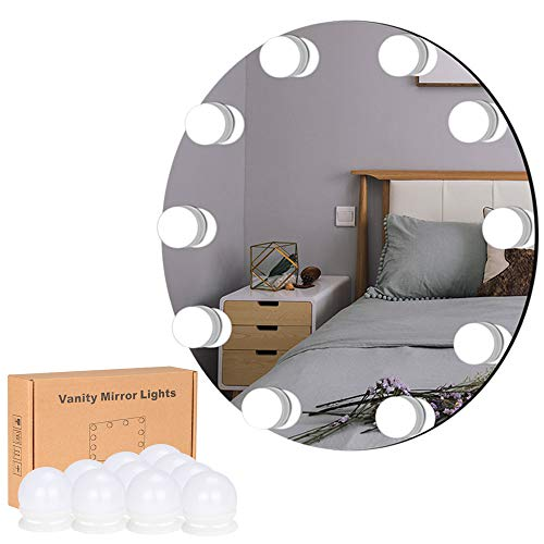 LiveComfort - LiveComfort Vanity Lights, Hollywood Style Adjustable Vanity Mirror Lights with 10 Dimmable LED Bulbs, 10 Brightness Modes, 3 Light Colors and USB Power Supply, Mirror NOT Included (White)