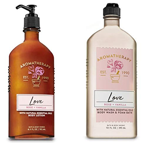 Bath & Body Works - Aromatherapy Love, Rose & Vanilla Duo Body Lotion and Body Wash