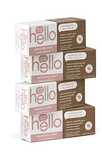Hello Oral Care - Hello Oral Care Sensitivity Relief Fluoride Toothpaste with No Artificial Sweeteners or SLS, Soothing Mint with Coconut Oil, 4 Count