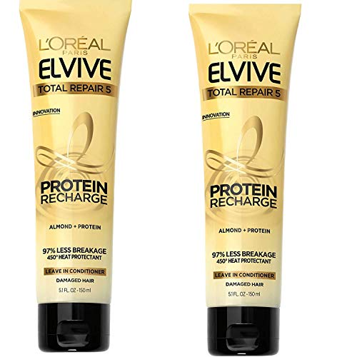 L'Oreal Paris - L'Oreal Paris Elvive Hair Treatment - Total Repair 5 - Protein Recharge Leave-In Conditioner - Net Wt. 5.1 FL OZ (150 mL) Per Tube - Pack of 3 Tubes