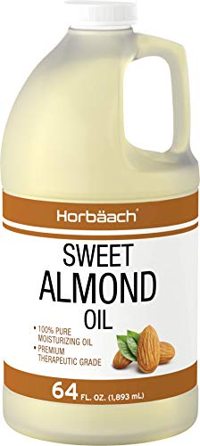 Horbäach - Horbaach Sweet Almond Oil 64 fl oz 100% Pure – for Hair, Face & Skin – Expeller Pressed – Vegetarian, Non-GMO