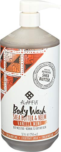 Alaffia - Alaffia - Everyday Shea Body Wash, Naturally Helps Moisturize and Cleanse without Stripping Natural Oils with Shea Butter, Neem, and Coconut Oil, Fair Trade, Vanilla Mint, 32 Ounces