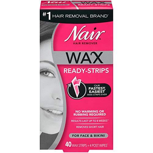 Nair Nair Hair Remover Wax Ready-Strips for Face & Bikini, 40 CT