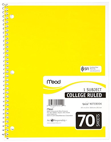 Mead - Mead Notebook Spiral 10-1/2 In. X 8 In. 3 Hole Punch - Assorted Colors