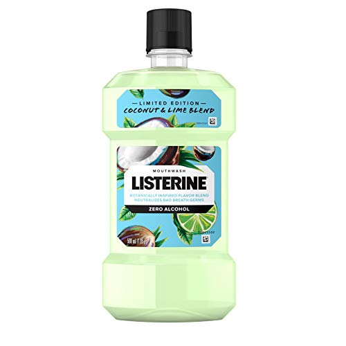 Listerine - Listerine Zero Alcohol Mouthwash, Oral Rinse Kills up to 99% of Bad Breath Germs, Limited Edition Coconut Lime Flavor, 500 mL (Pack of 6)