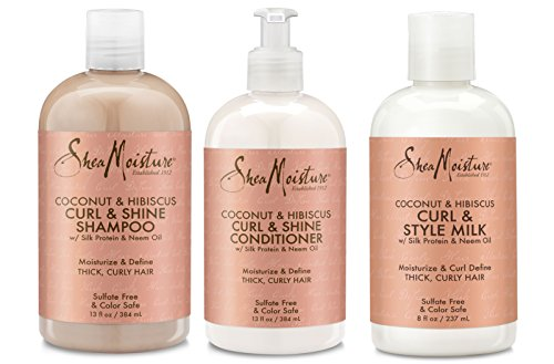 Shea Moisture Shea Moisture Coconut and Hibiscus Curl and Shine Combination Set - Includes 13 oz. Shampoo, 13 oz. Conditioner and 8 oz. Curl and Style Milk
