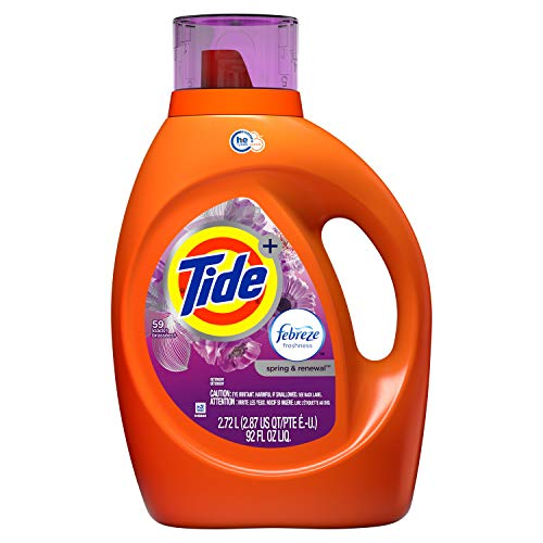 Tide - Tide Plus Febreze Freshness HE Turbo Clean Liquid Laundry Detergent, Spring Renewal Scent, 2.72 L (59 Loads) (Packaging May Vary)
