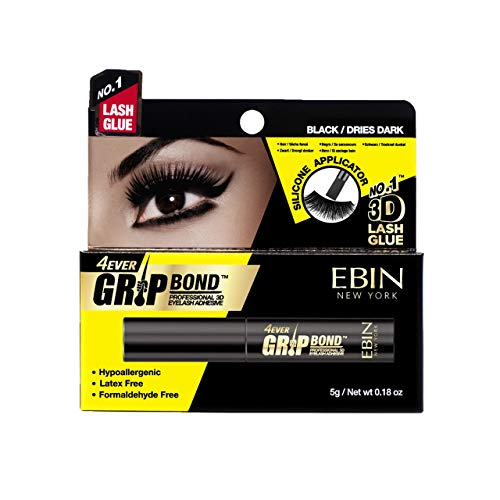 Ebin New York - Grip Bond Latex-Free Eyelash Adhesive Black/Dries Dark, 0.18oz