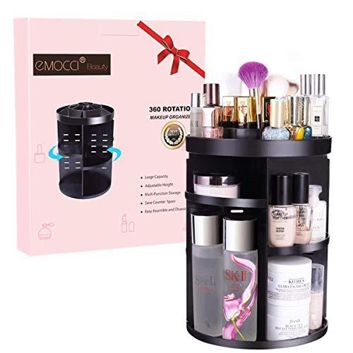 EMOCCI - EMOCCI Makeup Organizers 360 Rotating Adjustable Travel Cosmetic Storage Box Case Large Capacity Make Up Holder Vanity Shelf Fits Countertop Bathroom Kitchen Office(Black)