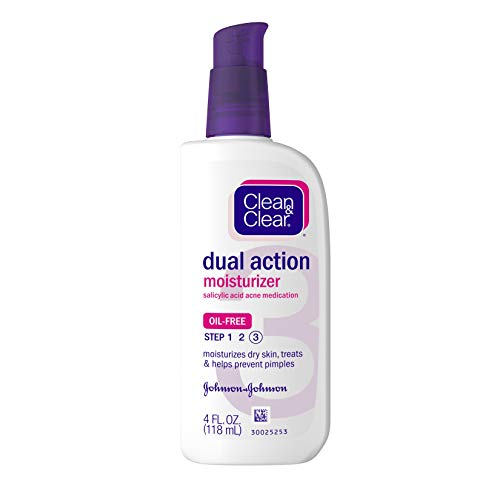 Clean & Clear - Clean & Clear Essentials Dual Action Facial Moisturizer with Salicylic Acid Acne Medication to Treat Acne and Prevent Pimples, Oil Free Face Moisturizer Cream for Acne-Prone Skin, 4 oz (Pack of 3)