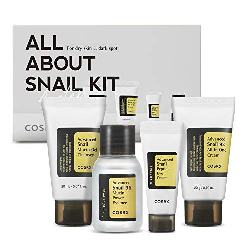 COSRX COSRX All About Snail Korean Skincare | Travel Size, Gift Set |Cleanser, Essence, Cream, Eye-cream | Snail Mucin for Repairing, Recovering, Rejuvenating