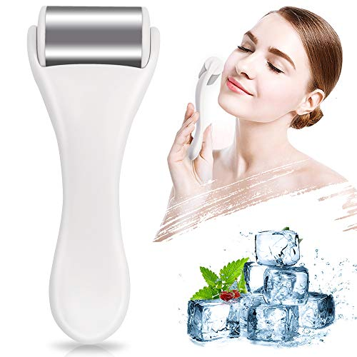 MAANGE - Ice Roller for Face & Eye,Puffiness,Migraine,Pain Relief and Minor Injury,Skin Care Products Stainless Steel Face Massager Ice Roller Massager (White)