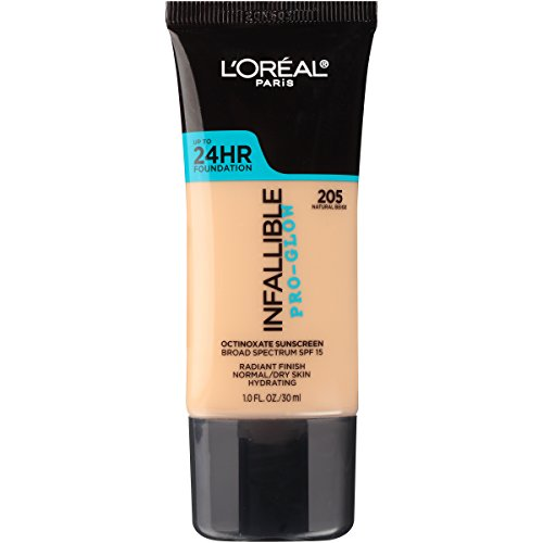 L'Oreal Paris - L'Oreal Paris Makeup Infallible Up to 24HR Pro-Glow Foundation, 205 Natural Beige, 1 fl. oz.