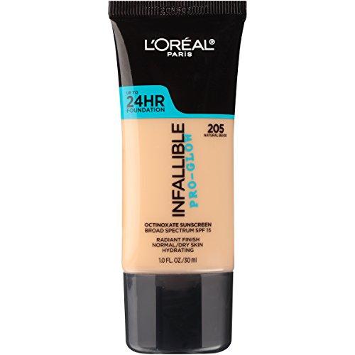 L'Oreal Paris - L'Oreal Paris Makeup Infallible Up to 24HR Pro-Glow Foundation, 205 Natural Beige, 1 fl. oz.