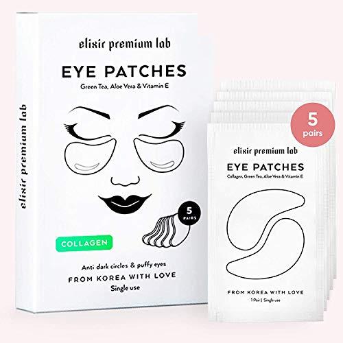 Elixir Premium Lab - Collagen Eye Patches - Moisturizing Under Eye Pads - Anti Puffines & Dark Circles Spa Treatment - Best Hydrogel Eye Moisturizer for Women & Men - Gel Patch for Dry Skin Under Eye Zone (1 Pack)