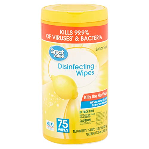 Great Value - Great Value Lemon Scent Disinfecting Wipes, 75 Wipes