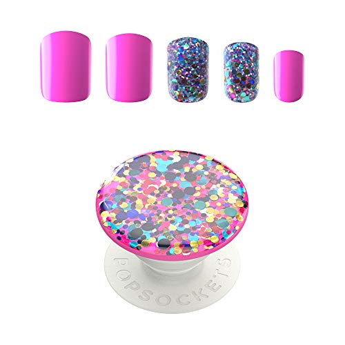 PopSockets - PopSockets: 30 Gel Nails and Matching PopGrip with Swappable Top for Phones and Tablets -Confetti Party