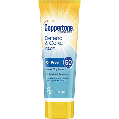 Coppertone - Coppertone Defend & Care Oil Free Sunscreen Face Lotion Broad Spectrum SPF 50 (3 Fluid Ounce) (Packaging may vary)