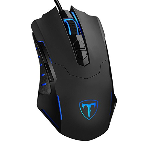 PICTEK PICTEK Gaming Mouse Wired [7200 DPI] [Programmable] [Breathing Light] Ergonomic Game USB Computer Mice RGB Gamer Desktop Laptop PC Gaming Mouse, 7 Buttons for Windows 7/8/10/XP Vista Linux, Black