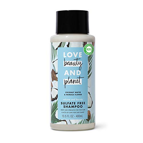 love, beauty, and planet Love Beauty And Planet Volume and Bounty Sulfate-free Thickening Shampoo For Thin and Fine Hair Care Coconut Water & Mimosa Flower Silicone-free, Vegan 13.5 oz