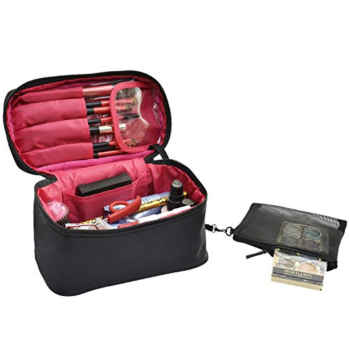 High Spot - Travel Makeup Bags Small Cosmetic Case Organizer for Women Black