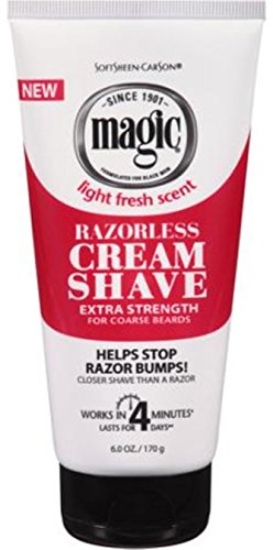 Softsheen-Carson - Razorless Shaving Cream for Men by SoftSheen-Carson Magic, Hair Removal Cream, Extra Strength for Coarse Beards, No Razor Needed, Depilatory cream works in 4 Minutes for Coarse Curly Hair, 6 oz