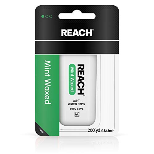 Reach - Reach Waxed Dental Floss for Plaque and Food Removal, Refreshing Mint Flavor, 200 Yards