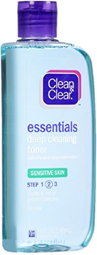 Clean & Clear - Clean & Clear Essentials Deep Cleaning Face Toner with Salicylic Acid Acne Medicine, Oil-Free Facial Toner for Sensitive & Acne-Prone Skin Care, 8 fl. oz