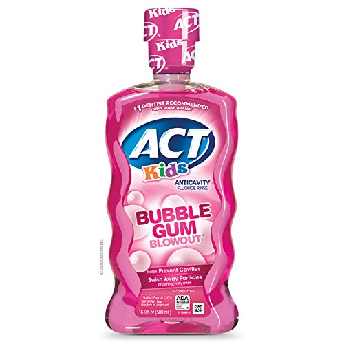 ACT - ACT Kids Anti-Cavity Fluoride Rinse Bubblegum Blowout  Children's Mouthwash with Fluoride & Exact Dosage Meter,16.9 Fl Oz