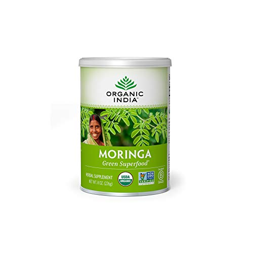 ORGANIC INDIA - Organic India Moringa Herbal Supplement Powder - Green Superfood, Nutrient Dense, Pure Plant Protein, Vitamin A, E, K, Iron, Calcium, Fiber, Vegan, Gluten-Free, USDA Certified Organic - 8 oz Canister