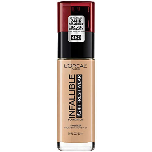 L'Oreal Paris - L'Oréal Paris Makeup Infallible up to 24HR Fresh Wear Liquid Longwear Foundation, Lightweight, Breathable, Matte Finish, Medium-Full Coverage, Sweat & Transfer Resistant, Golden Beige, 1 fl. oz.
