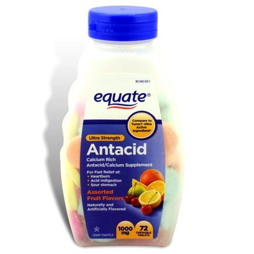 Equate - Equate - Antacid Tablets, Ultra Strength 1000 mg, 72 Chewable Tablets, Compare to Tums