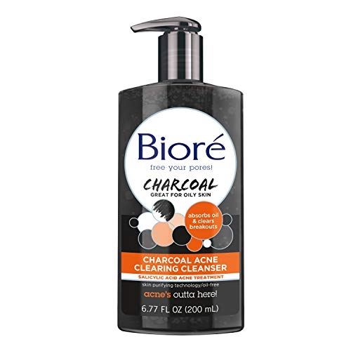 Bioré - Bioré Charcoal Acne Clearing Facial Cleanser, 6.77 Ounce, with 1% Salicylic Acid and Natural Charcoal, Helps Prevent Breakouts and Absorb Oil for Deep Pore Cleansing