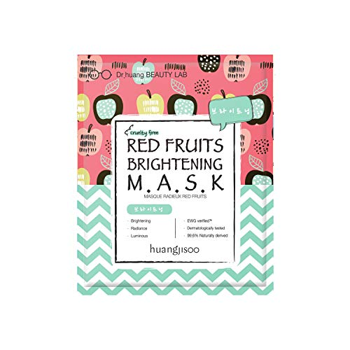 huangjisoo - [huangjisoo] Red Fruits Brightening Sheet Mask - Best Organic, Natural, Korean Sheet Mask for Dull Skin - A Set of 5