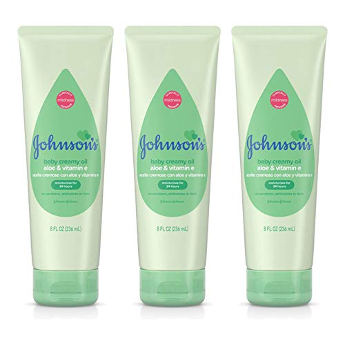 Johnson'S Baby - Johnson's Baby Creamy Oil with Aloe & Vitamin E, Moisturizing Baby Body Lotion for Delicate Skin, Hypoallergenic and Free of Parabens, Phthalates, and Dyes, 8 Fl Oz, Pack of 3