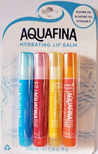 Aquafina - Aquafina Hydrating Lip Balm, Jojoba & Almond Oils, VIT. E, New Flavors- 4 Pack (Lemon Zing, Orange Splash, Berry Loco, Pure Original)