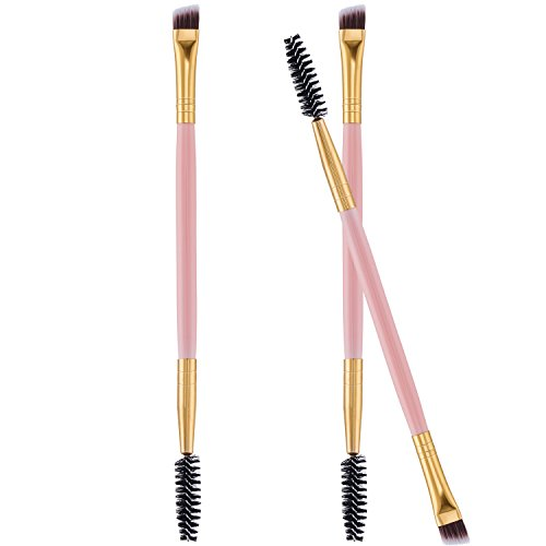 Frienda - Frienda 3 Pack Eye Brow Brush Eyebrow Spoolie Double Handle Angled and Eyebrow Comb for Application of Brow Powders Waxes Gels and Blends (Pink)